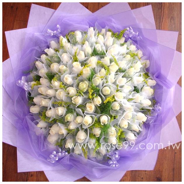 A0002/99朵白玫瑰花束 1