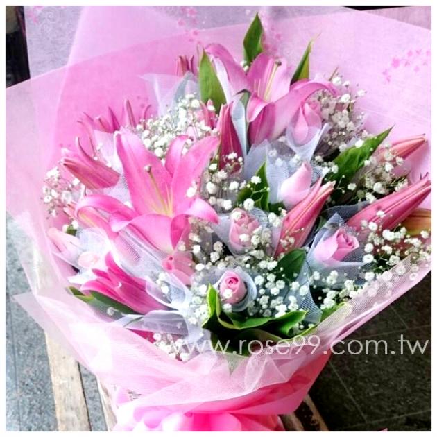 A0017/粉色百合玫瑰花束 1